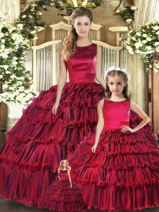 Wine Red Organza Lace Up Scoop Sleeveless Floor Length Ball Gown Prom Dress Ruffled Layers