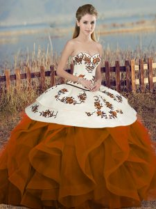 Best Rust Red Sweetheart Lace Up Embroidery and Ruffles and Bowknot Quinceanera Dress Sleeveless