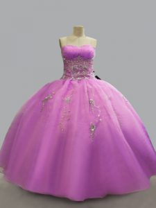 Admirable Lilac Sleeveless Beading Floor Length Quinceanera Dresses