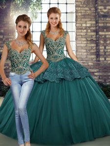 Fantastic Two Pieces Sweet 16 Dresses Green Straps Tulle Sleeveless Floor Length Lace Up