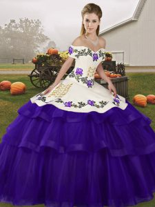 Off The Shoulder Sleeveless Brush Train Lace Up Sweet 16 Dress Purple Tulle