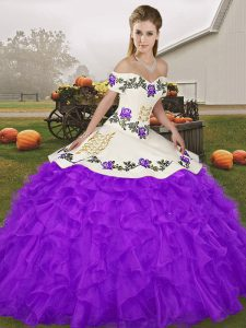 Free and Easy Purple Organza Lace Up 15th Birthday Dress Sleeveless Floor Length Embroidery and Ruffles