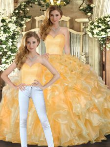 Floor Length Gold Quince Ball Gowns Sweetheart Sleeveless Lace Up
