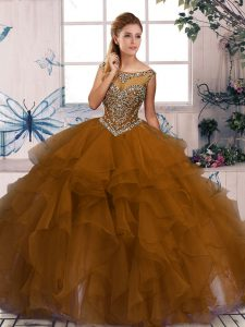 Nice Scoop Sleeveless Organza Sweet 16 Dress Beading and Ruffles Zipper