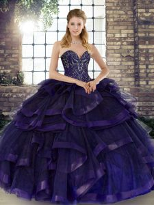 Extravagant Purple Tulle Lace Up Ball Gown Prom Dress Sleeveless Floor Length Beading and Ruffles