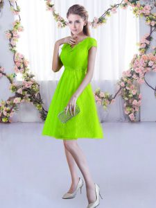 Luxury Yellow Green Bridesmaid Gown Wedding Party with Lace V-neck Cap Sleeves Lace Up