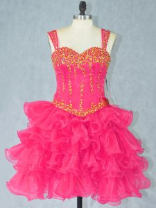 Charming Halter Top Sleeveless Celebrity Dresses Mini Length Beading and Ruffled Layers Hot Pink Organza