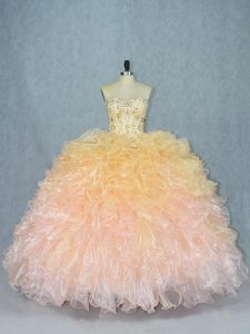 Excellent Sleeveless Floor Length Beading and Ruffles Lace Up Quince Ball Gowns with Multi-color