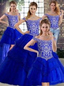 Classical Sleeveless Brush Train Beading and Lace Lace Up 15 Quinceanera Dress