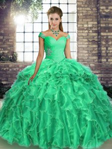 Extravagant Sleeveless Brush Train Beading and Ruffles Lace Up Ball Gown Prom Dress