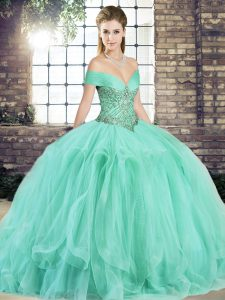 Apple Green Ball Gowns Beading and Ruffles Vestidos de Quinceanera Lace Up Tulle Sleeveless Floor Length