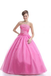 Rose Pink Lace Up Strapless Embroidery Quinceanera Dress Organza Sleeveless