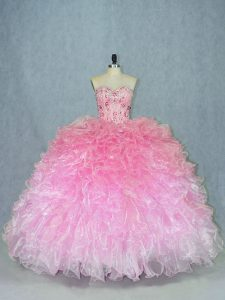 Latest Floor Length Multi-color Quinceanera Dress Organza Sleeveless Beading