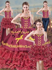 Burgundy Sleeveless Brush Train Embroidery 15 Quinceanera Dress