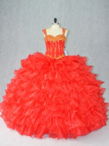 Sophisticated Red Ball Gowns Beading and Ruffles Sweet 16 Quinceanera Dress Lace Up Organza Sleeveless Floor Length