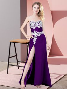 Noble Column/Sheath Red Carpet Prom Dress Purple Sweetheart Chiffon Sleeveless Floor Length Zipper