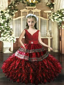 Red Backless V-neck Sleeveless Floor Length Glitz Pageant Dress Beading and Appliques and Ruffles