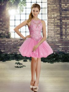 Decent Sleeveless Tulle Mini Length Lace Up Homecoming Dress in Rose Pink with Beading