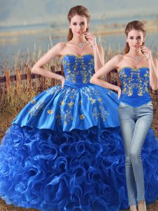 Stunning Royal Blue Sleeveless Embroidery and Ruffles Lace Up Sweet 16 Quinceanera Dress