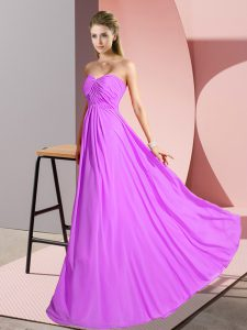 Modern Sweetheart Sleeveless Oscars Dresses Floor Length Ruching Lilac Chiffon