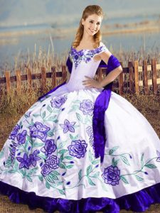 Gorgeous White And Purple Sleeveless Satin and Organza Lace Up Quinceanera Gowns for Sweet 16 and Quinceanera