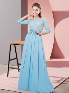 Attractive Floor Length Side Zipper Dama Dress Baby Blue for Wedding Party with Lace and Belt