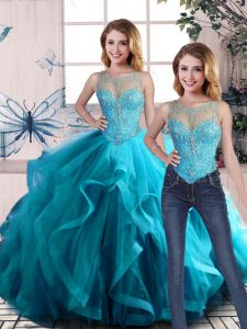 Aqua Blue Two Pieces Scoop Sleeveless Tulle Floor Length Lace Up Beading and Ruffles Sweet 16 Dress