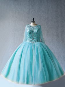 Aqua Blue Tulle Lace Up Scoop Long Sleeves Floor Length Quinceanera Gown Beading