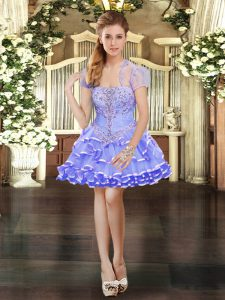 Hot Selling Lavender Sleeveless Organza Lace Up Homecoming Party Dress for Prom and Party