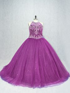 Attractive Purple Tulle Lace Up Scoop Sleeveless Sweet 16 Dress Beading