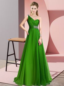 Simple Green Empire Beading Homecoming Dress Criss Cross Chiffon Sleeveless
