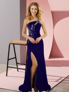 Column/Sheath Sleeveless Blue Prom Gown Sweep Train Lace Up