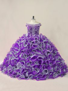 Multi-color Off The Shoulder Lace Up Beading and Ruffles 15th Birthday Dress Sleeveless