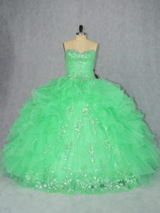 On Sale Lace Up Sweetheart Beading and Ruffles Quince Ball Gowns Organza Sleeveless