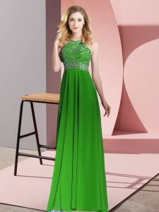 Artistic Green Sleeveless Floor Length Beading Backless Prom Evening Gown