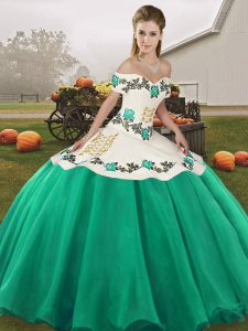 Sleeveless Floor Length Embroidery Lace Up Quince Ball Gowns with Turquoise
