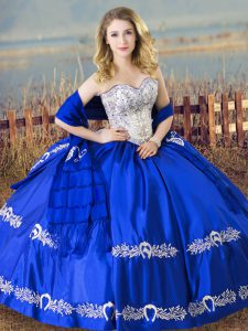 Royal Blue Satin Lace Up 15th Birthday Dress Sleeveless Floor Length Beading and Embroidery
