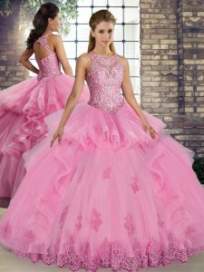 Designer Rose Pink Tulle Lace Up Quinceanera Gown Sleeveless Floor Length Lace and Embroidery and Ruffles