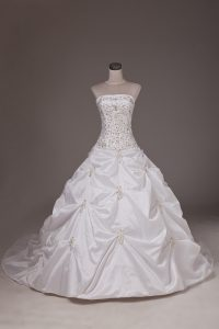 Designer White Ball Gowns Strapless Sleeveless Taffeta Brush Train Lace Up Beading and Pick Ups Wedding Dress