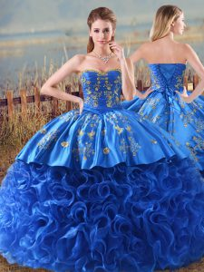 Delicate Royal Blue 15th Birthday Dress Fabric With Rolling Flowers Brush Train Sleeveless Embroidery and Ruffles