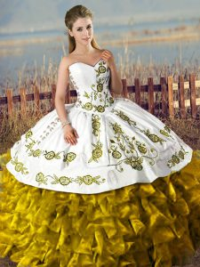 Floor Length Lace Up 15th Birthday Dress Brown for Sweet 16 and Quinceanera with Embroidery and Ruffles