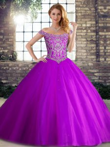 Noble Brush Train Ball Gowns Quinceanera Gown Purple Off The Shoulder Tulle Sleeveless Lace Up