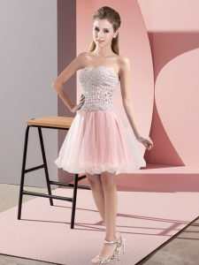 Decent Sweetheart Sleeveless Zipper Prom Party Dress Pink Tulle