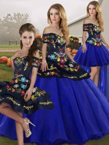 Admirable Tulle Sleeveless Floor Length Quinceanera Gowns and Embroidery