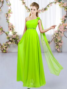 Luxurious Yellow Green One Shoulder Neckline Beading and Hand Made Flower Quinceanera Court of Honor Dress Sleeveless Lace Up