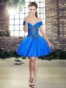 Ball Gowns Blue Off The Shoulder Tulle Sleeveless Mini Length Lace Up