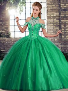 Deluxe Brush Train Ball Gowns Sweet 16 Dresses Green Halter Top Tulle Sleeveless Lace Up