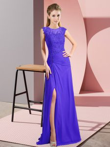Inexpensive Beading Prom Homecoming Dress Purple Zipper Sleeveless Floor Length
