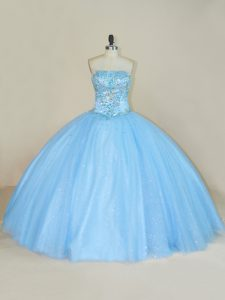 Sleeveless Beading Lace Up Quinceanera Gown