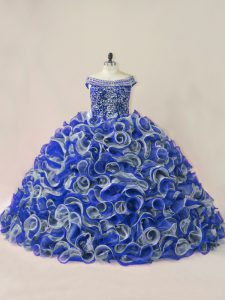 Sleeveless Beading and Ruffles Lace Up 15th Birthday Dress with Multi-color Court Train